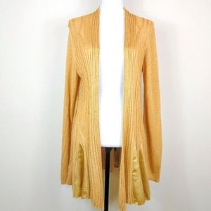 Knitted & Knotted Golden Silk Paneled Cardigan